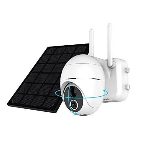 HiKam R9 Überwachungskamera Aussen Akku 15000mAh mit Solar 355°/120° Schwenkbar, 1080P FHD WLAN IP Kamera Outdoor, Pan Tilt PIR Bewegungsmelder, 2-Wege-Audio, Nachtsicht, IP66 wasserdichte