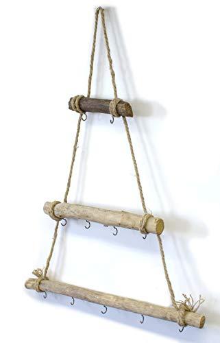 DARO DEKO Holz Leiter mit Haken 52cm x 75cm