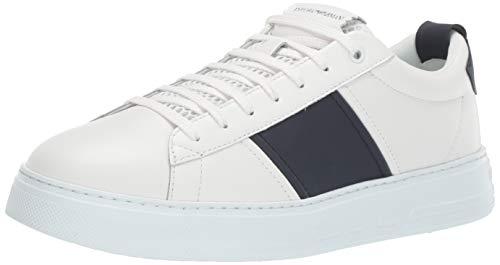 Emporio Armani Herren Sneaker Turnschuh, weiß/Marineblau, 45 EU