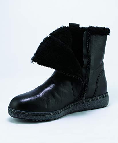 LATRANS damskie czarne skórzane zimowe botki z zamkiem błyskawicznym wodoszczelne ciepłe zimowe botki, czarny - czarny - 39/43 EU