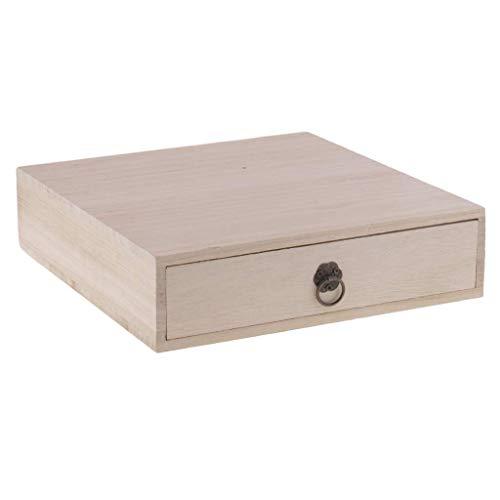 Backbayia Teedose mit 1 Schublade aus Holz, Aufbewahrungsbehälter für Kunst, Basteln, Halskette, Armband, Ohrringe