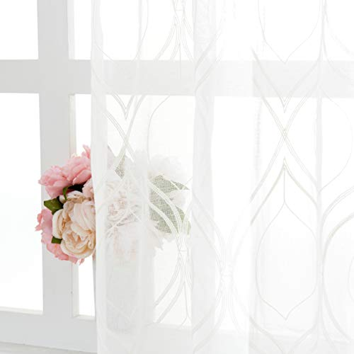 """VISIONTEX 2 Pieces Moroccan Trellis Embroiderd White Sheer Curtains , Euro Style Faux Linen Rod Pocket, Voile Tulle Semi Window Treatment Drapes for Window Door and Bathroom, 54"""" x 72"""", Ivory White"""