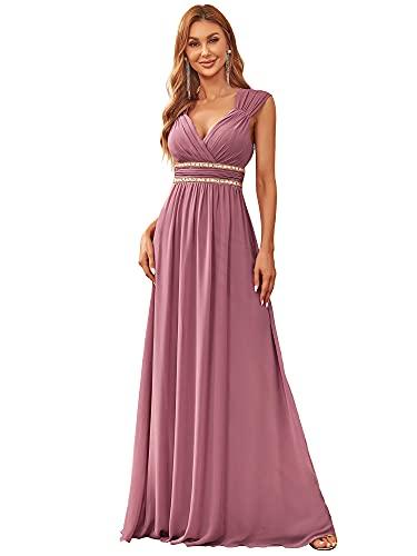 Ever-Pretty Damen Abendkleid A-Linie V Ausschnitt Brautjungfer Rückenfrei lang Orchidee 44EU