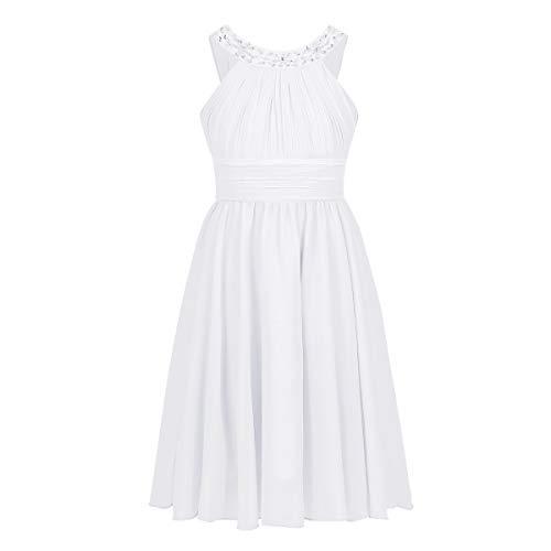 iEFiEL Kids Big Girls Sleeveless Chiffon Halter Neck Dress Wedding Bridesmaid Party Flower Girl Dress White 14