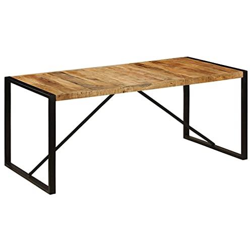 vidaXL Raues Mangoholz Massiv Esszimmertisch Vintage Küchentisch Esstisch Speisetisch Holztisch Tisch Massivholztisch 180cm Stahlbeine