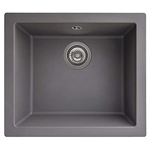 SIA EVOGR 1.0 Bowl Grey Composite Inset/Undermount Kitchen Sink and 90mm Basket Strainer Waste Kit with Fitting Clips