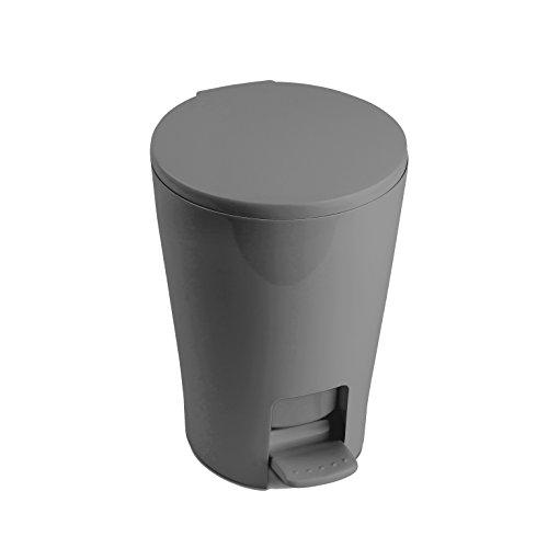 TATAY4434906 - Diábolo Cubo de baño con apertura a pedal, 5 litros de capacidad, PP, Gris, 19.00x21.00x28.20 cm