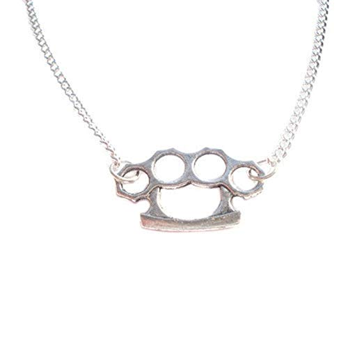Royal Swan Retro Silver Knuckle Duster Charm Necklace, Rocker, Pendant, Rock, Kitsch, Bag
