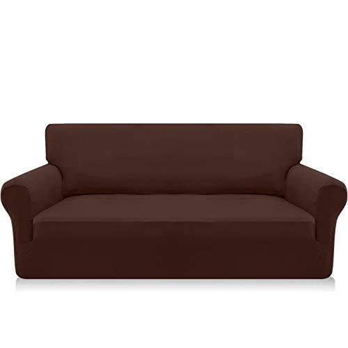 Granbest Funda elástica para sofá de 3 plazas de Microfibra súper Suave para sofá Funda de sofá Funda Antideslizante de Elastano para Perros y Mascotas (3 Plaza, Chocolate)