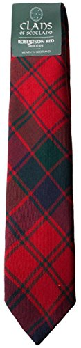 I Luv Ltd Robertson Red Clan 100% Wool Scottish Tartan Tie
