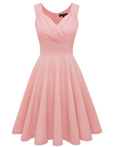 bridesmay 1950er V-Ausschnitt Rockabilly Kleid Vintage Retro Knielang Cocktailkleid FaltenrockBlush 3XL