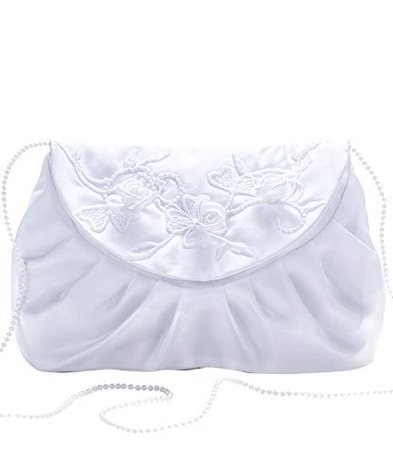 Princess Taufkleid Damen-Clutch Handtasche Modell 21 Weiß Größe 22 x 15 cm Satin Party Braut Ball