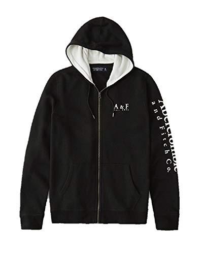 Abercrombie & Fitch - Sudadera con capucha y cremallera completa, color negro, talla S/S