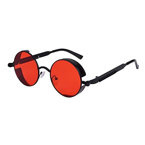 besbomig Gafas de Sol Unisex Polarizadas Círculo Metálico UV400 - Gafas de Sol Redondas Ronda Marco de Metal Gafas para Mujeres y Hombres Sunglasses