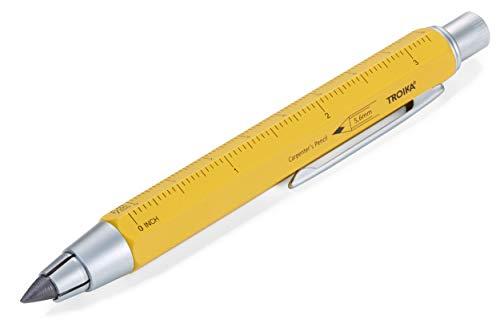 TROIKA ZIMMERMANN 5,6 BLEISTIFT- PEN56/YE mine (5,6 mm HB-mine), righello in centimetri/pollici, scala 1:20 m/1:50 m, temperamatite in ottone laccato giallo