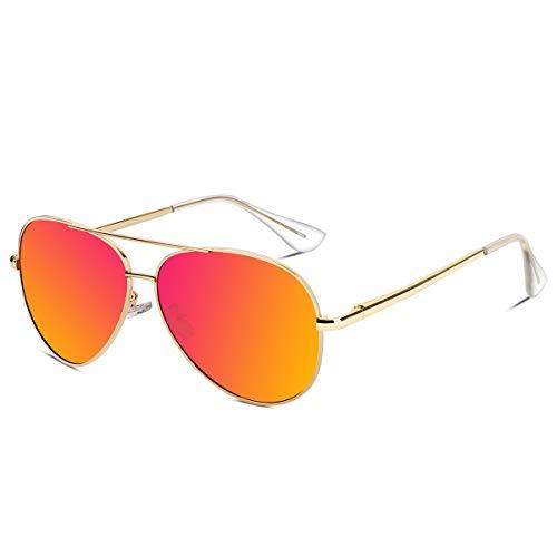 VVA Sonnenbrille Herren Pilotenbrille Polarisiert Pilotenbrille Polarisierte Sonnenbrille Herren Pilot Unisex UV400 Schutz durch V101(Orange/Gold, 2.44)