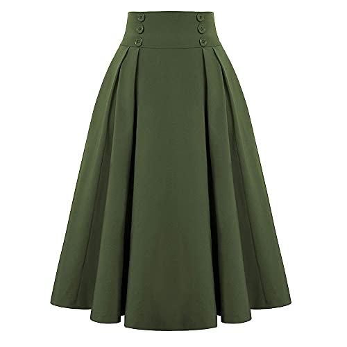 N\P Cintura alta larga plisada faldas femeninas primavera invierno falda vintage mujer casual