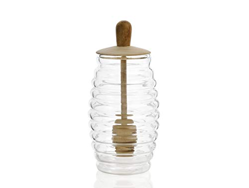 Andrea House MS66068 honingpot van glas en hout met lepel, transparant