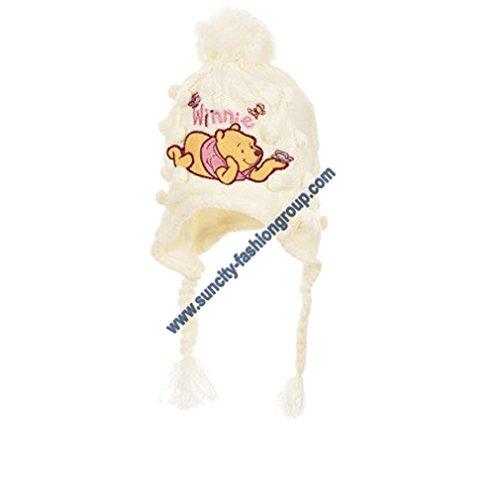 Bonnet péruvien bébé fille Winnie l'ourson Rose et Ecru de 3 à 9 mois (46 (6-9 mois), Ecru)