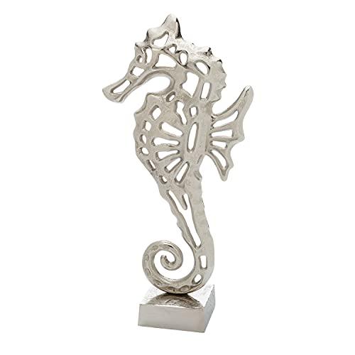 Metal Seahorse Sculpture-Nautical Shelf Decor for The Contemporary Living Room-Bathroom Wall Art-Table top Ocean décor Accents-Rustic Beach Figurines