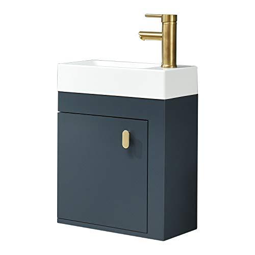 """16"""" Bathroom Vanity, Modern Lavatory Wall-Mounted Vanity Set in Blue with Vanity Top Counter Top Sink"""