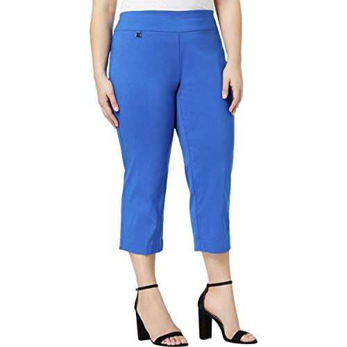 Alfani Womens Plus High Rise Pull On Capri Pants Blue 14W