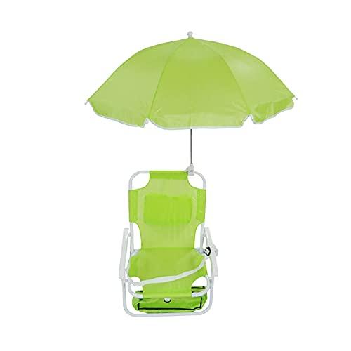 YINAIER Silla Playa Plegable Reclinable, Silla Plegable Ligera Y Reclinable Portátil con Sombrilla Extraíble Silla De Playa para Niños Camping Al Aire Libre Viajes
