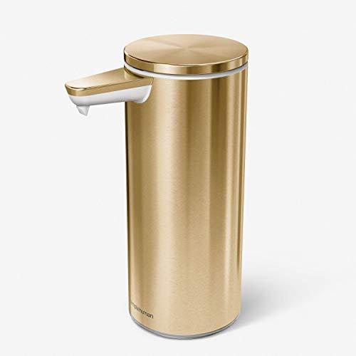 simplehuman, dosificador con sensor recargable de 266 ml, acero inoxidable dorado