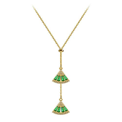 Vergoldete Smaragdkette mit echten Smaragden in Muschel Schmuckbox für Damen Kette verstellbar