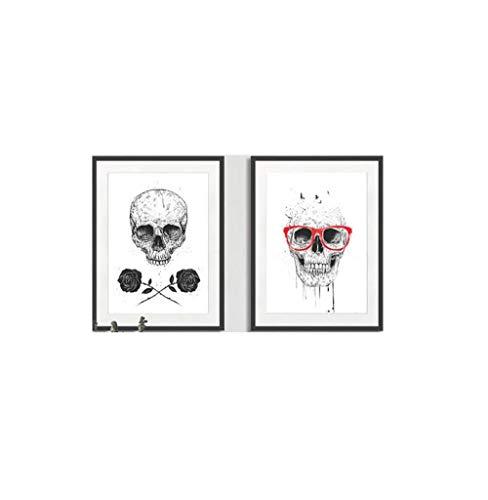 De La Lona CráNeo Sala De Decoracion Marco De La Oleo Pintura Blanco Cuadro Resumen Moderno Poster Impresiones Resumen Pared Arte para Salon Esqueleto 40x60cmx2 No Esqueleto