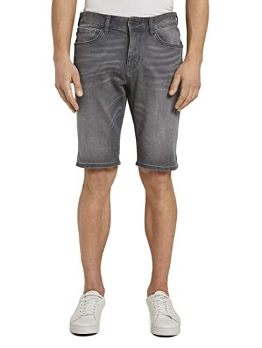 TOM TAILOR Herren Jeanshosen Josh Regular Slim Jeans-Shorts mit Superstretch Grey Denim,32