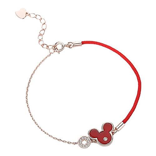 s925 plata esterlina año natal pulsera de hilo rojo simple retro pulsera de ágata roja ratón pulsera de hilo rojo