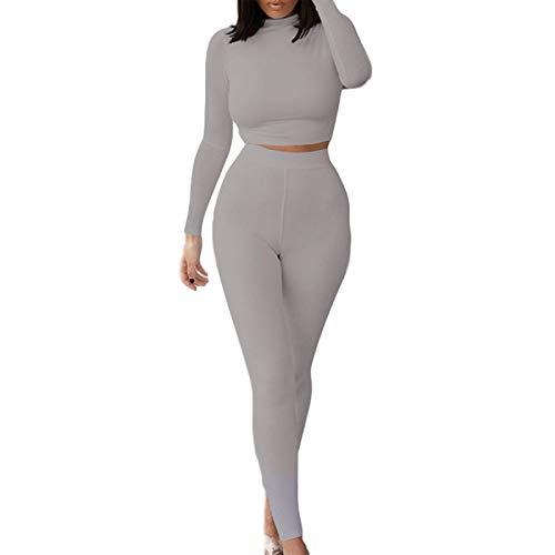 I3CKIZCE 2PCS Damen Langarm Trainingsanzug Elastic Crop Top Hohe Taille Enge Gym Leggings Yoga Jogging Sportswear Damen Loungewear Set Damen Casual Outfit S-XL (Hellgrau, S)