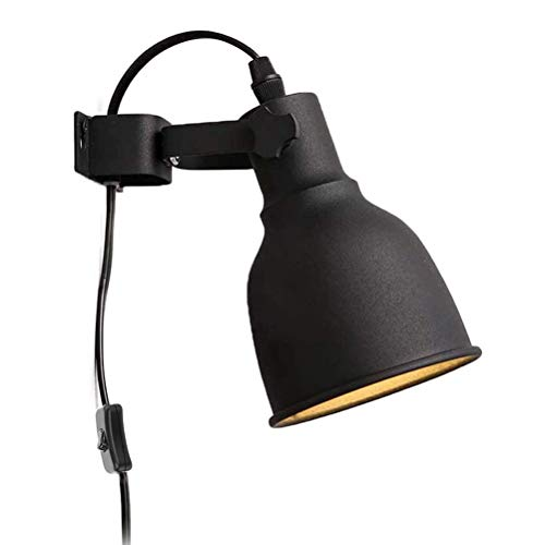 OOWOKS Aplique de Pared Industrial Vintage de Metal Negro E27 Retro, con Interruptor Lámparas de Pared de Lectura Ajustables con Enchufe y Cable, para salón, Dormitorio, Pasillo, balcón, escaleras