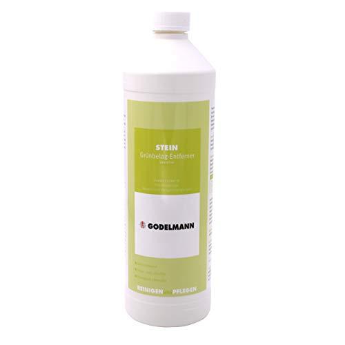 GODELMANN Steinreiniger außen | Grünbelag-Entferner | Entfernt Moos, Algen & Schimmel von Pflastersteinen, Terrassen & Mauersteinen | säure- und chlorfrei 1,0 l