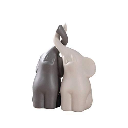 GARNECK 1 par de figuras de elefantes enamoradas de cerámica en miniatura...