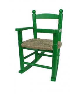 CAL FUSTER - Mecedora Infantil de Madera Asiento de anea Color Verde decoración habitación niño niña Regalo Original. Medidas: 53xx34x42 cm.