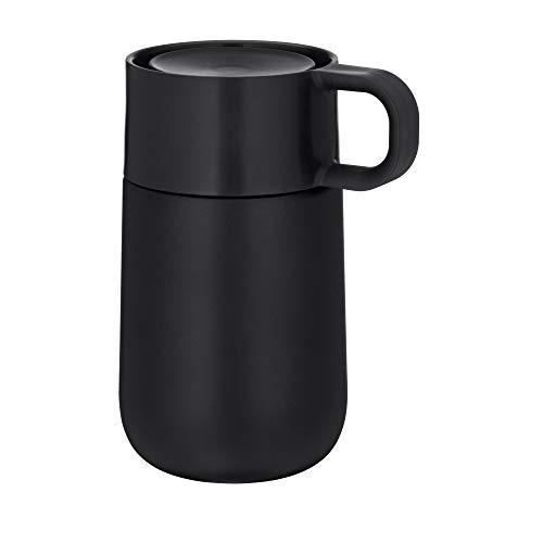 WMF Impulse Travel Mug, Thermobecher 0,3l, Automatikverschluss, 360°-Trinköffnung, hält Getränke 6h warm/ 12h kalt, schwarz