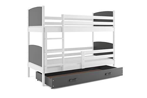 Interbeds Lit superposé Tami 190x90 avec Matelas sommiers et tiroir Blanc + Gris