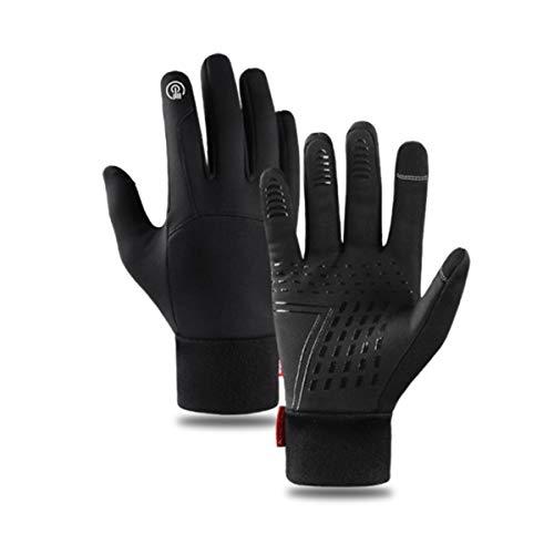 Lantch Unisex Handschuhe Touchscreen Handschuhe Radsport-handschuhe Thermo Outdoor Rutschfeste Fahrradhandschuhe Winddichte Wasserdichte Handschuhe, A-schwarz1 L