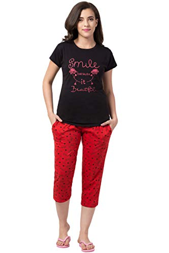 FUNDAY FASHION Women's/Gilrs Printed Cotton Top and Capri Night Wear/Sleep wear/Lounge Wear Set (Black & Red Blah, X-Large)