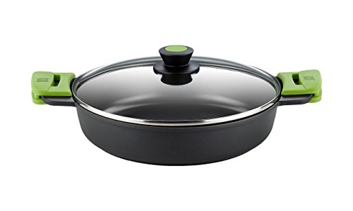 BRA Prior- Cacerola Baja con Tapa de Cristal y Asas de Silicona, Apta para Todo Tipo de Cocinas Incluida Inducción y Horno, 28 cm