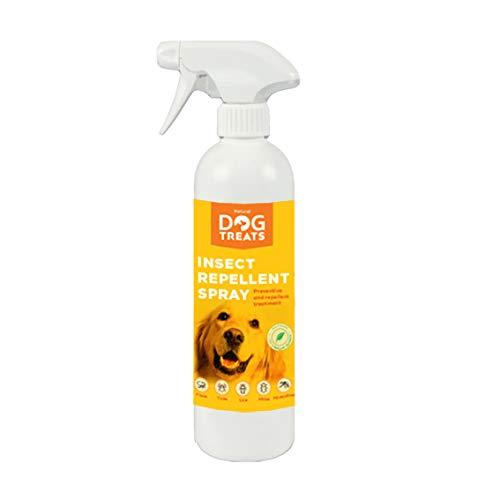Natural Dog Treats Repelente de Insectos para Perros, Veterinario Aprobado, contra Mosquitos, Pulgas, Garrapatas, Chinches y Ácaros, Natural con Citronela, 500 ml
