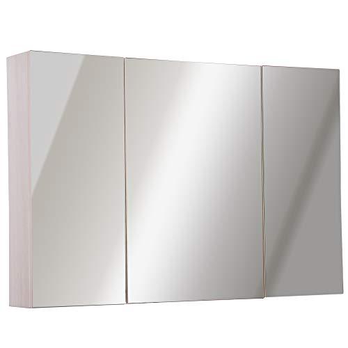 kleankin Armadietto Pensile da Bagno a Parete con Specchio a 3 Ante e Ripiani Regolabili in Legno 90x60x13.5cm