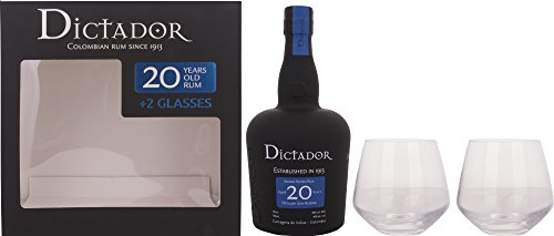 Dictador 20 Years Old Distillery Icon Reserve Rum with 2 Glass Gift Set - 700 ml