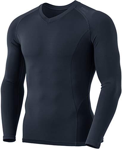 TSLA Men's Thermal V-Neck Long Sleeve Compression Shirts, Athletic Base Layer Top, Winter Gear Running T-Shirt, Heatlock V Neck(yuv55) - Charcoal, X-Large