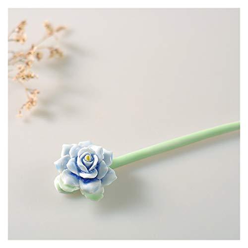 Zxebhsm Pinzas Pelo Horquilla de cerámica Hecha a Mano LY LY LY Loy Lotus Flower Pasillo Pelo Horquilla Tenedor Headwear Boda Cabello Joyería Accesorios (Metallfarbe : Blue Rose)