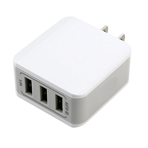 Preisvergleich Produktbild kingko 3-Port 40W AC USB Ladegerät Wandladegerät für Handys Smartphone Tablets Bluetooth Geräte Mp3. usw. Weiss (Weiß)