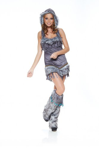 shoperama Fell-Kostüm Sexy Pocahontas Indianerin Eskimo Damen Squaw, Größe:S/M