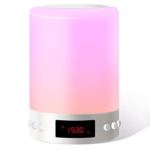 Luces Nocturnas Altavoz Bluetooth, Swonuk Luz Nocturna Portátil Lámpara de Mesa LED Táctil con Radio FM Reloj Despertador Lámpara de Noche Regulable